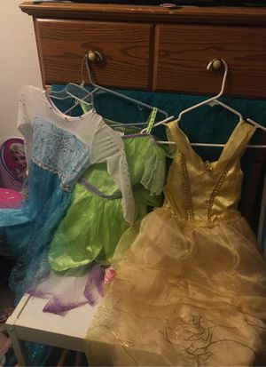Disney dresses Elsa come with wig and brand. Beauty and the beast and tinker bell size 5 for Sale in Glendale, AZ