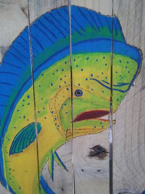 Fishing boating mahi mahi art patio living room bedroom boat nautical pool offshore for Sale in Port St. Lucie, FL