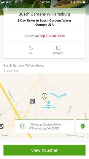 Busch Garden 3 Days ticket for Sale in Severna Park, MD