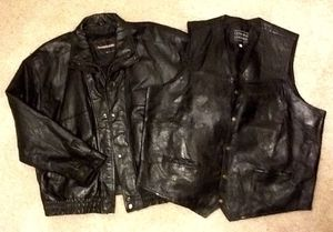 Men's Black Genuine Leather Motorcycle Riding Jacket 4XLT & Black Genuine Leather Vest 4XL for Sale in Fresno, CA