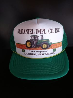 Vintage Green White McDaniel IMPL. CO. INC. New Firepower Socorro New Mexico John Deere Tractor Trucker Hat for Sale in Rialto, CA