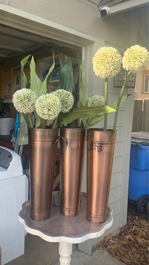 3 brass colored vases for decor including flowers for Sale in Vancouver, WA