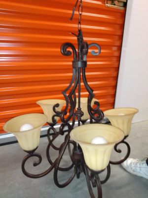 Tuscana 5 Light Peruvian Bronze Chandelier Used_2 Available for Sale in Houston, TX