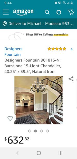 Gorgeous Designers fountain 15 Light Chandelier Natural Iron for Sale in Modesto, CA