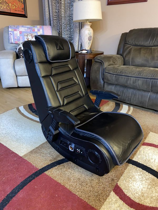 X Rocker Pro Series H3 Black Leather Vibrating Floor Video Gaming Chair with Headrest for Adults, Teens, and Kids - 4.1 High Tech Audio and Wireless