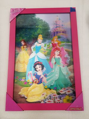 Disney princess mix ariel belle more 3d framed wood sign for Sale in Vancouver, WA