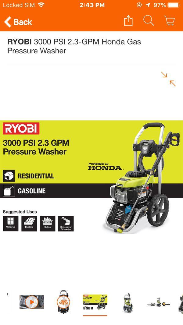 Ryobi 3000 PSI Honda Gas Pressure Washer