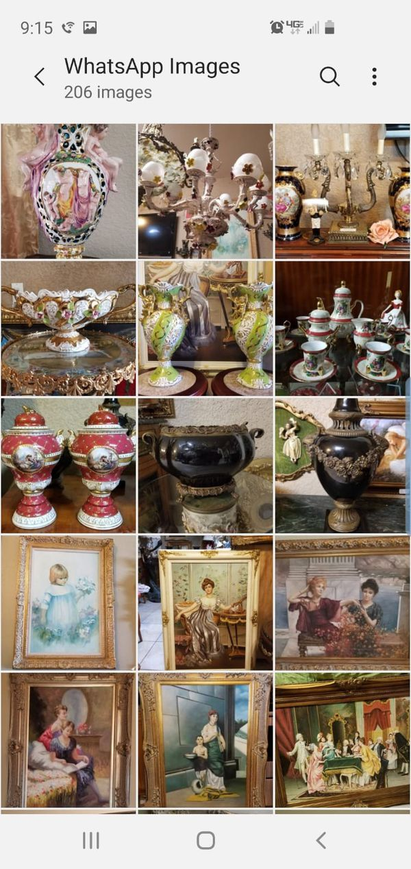 Antique furniture, paintings,bronze, vases/urns chandelier and others