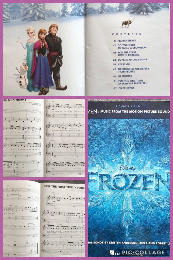 Lot of 3 Disney FROZEN hard-books cover and FROZEN MUSIC FROM THE MOTION PICTURE SOUNDTRACK Series Big Note Songbooks