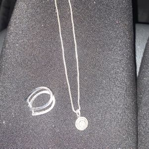 Silver Diamond Necklace With Matching Diamond Hoops for Sale in Florissant, MO