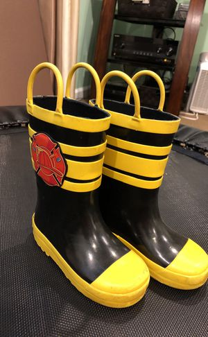 Rain boots kids size 7T firefighters for Sale in Gaithersburg, MD