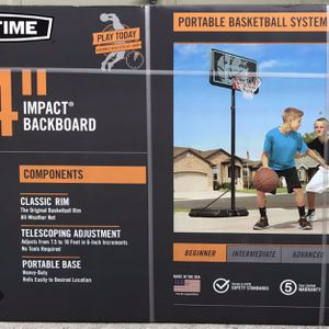 Basketball Hoop 44 In. Backboard Impact Adjustable Portable 7.5 Feet To 10 Feet for Sale in Land O Lakes, FL