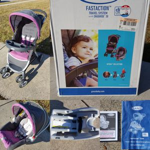Like New Graco FastAction Fold Click Connect Travel System in Purple - Nyssa for Sale in Plainfield, IL