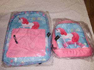 Unicorn girls bookbag with lunch bag for Sale in Cleveland, OH