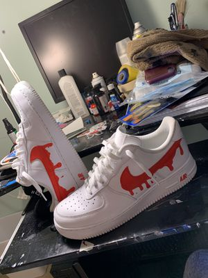 Nike Air Force 1 low red drip custom for Sale in Montgomery Village, MD
