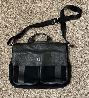 Giorgio Armani Men's Leather Messenger Bag Black. for Sale in Seattle, WA