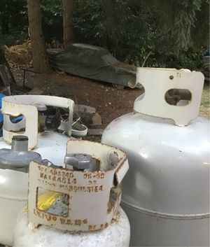 Propane lp tank cylinder small miniature barbecue camper 5lb 14.6lb 20lb pound for Sale in Milton, WA