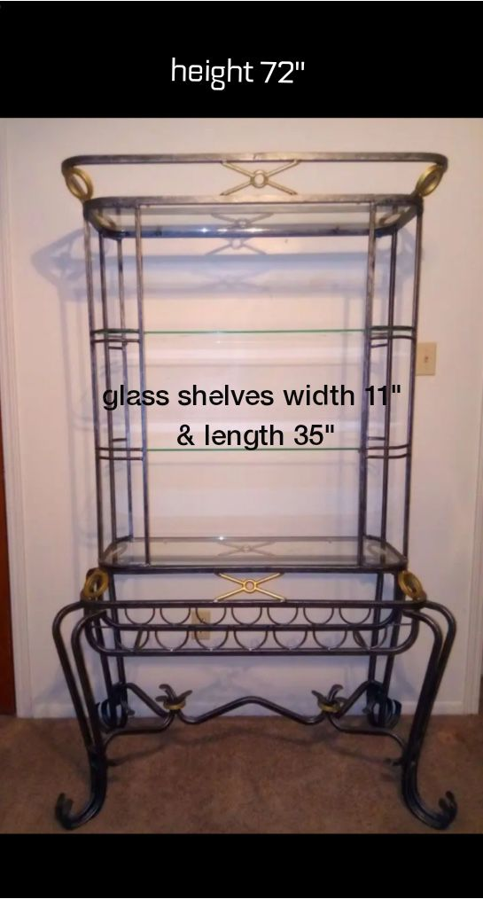 Large Iron & Glass Bakers Rack