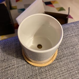 Mini Ceramic Pot With Bamboo Saucer (8) $20 Local Pick Up! for Sale in Los Angeles, CA