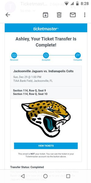 Jacksonville vs colts tickets for the 29th for Sale in Cocoa, FL