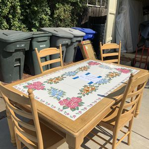 Kitchen Table Beautiful Tiles Top And Sturdy Wood Construction With 4 Chairs for Sale in La Mesa, CA