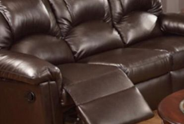 Reclining Sofa Upholstered In Leather. Available In Brown. for Sale in Miami,  FL