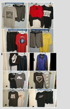 All size XL men's mostly Nike but some Adidas and Jordan and one Nautica shirt brand new bike backpack for Sale in Dallas, TX