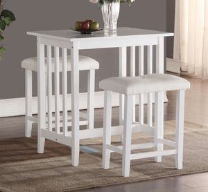 3-Piece Counter Height Dining Set with saddleback Stools, White for Sale in Broadview Heights, OH