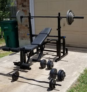 Bench press, squat rack, Olympic barbell, weights, dumbbells for Sale in San Antonio, TX