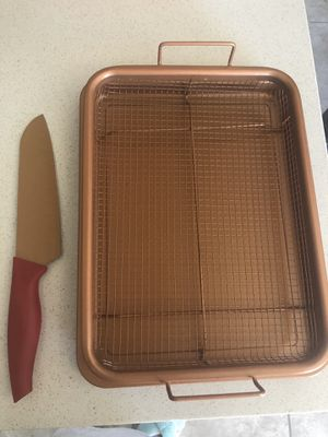 Copper french fry pan and knife set for Sale in Las Vegas, NV