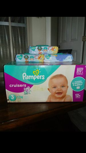 Pampers Cruisers Size 3!!READ THE ADDDD💜👶💚 for Sale in Compton, CA