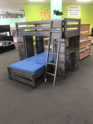 Twin over twin bunk bed with desk and chest. Color choice for Sale in Litchfield Park, AZ