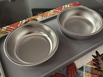 Pet Bowl Stainless Steel with Silicone Mat, Light Gray, 1.75 Cups for Sale in Hollywood,  FL