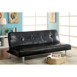 BLACK PADDED LEATHERETTE FUTON SOFA BED / SILLON CAMA NEGRO for Sale in North Hollywood, CA
