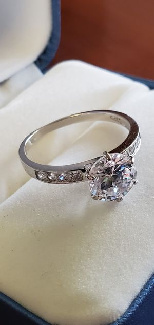 925 Sterling Silver, 8mm Round Brilliant Cut AAA Cubic Zirconia Stones, Women's Wedding/Engagement Ring Size 5, 7 & 8 for Sale in Portland, OR