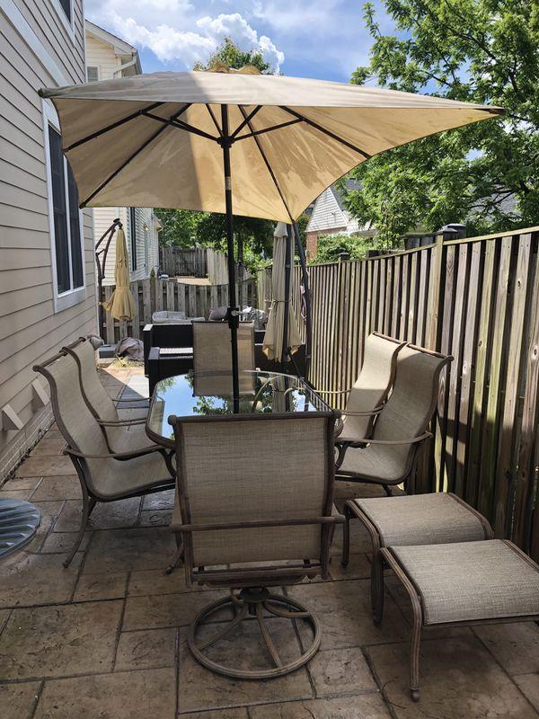 Outdoor Iron Dining + Umbrella Set (11 pieces)