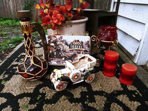 Vintage Decor Set! Box, Candle Holder, Amber Glass Decor Jug for Sale in Joliet, IL