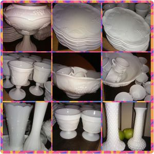 Grape pattern antique Milk glass dishes for Sale in Columbus, OH