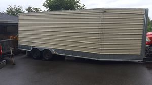 Enclosed trailer 24 foot long 7.6 wide and 11 ft tall is waterproof and stays dry inside for Sale in Tacoma, WA