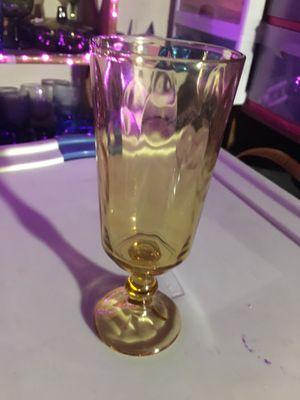 Vintage Stemmed Amber Glass Water Goblet for Sale in Byron, GA