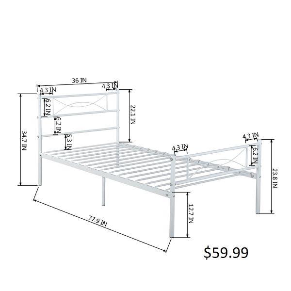 GIME Bed Frame Twin Size, Easy Set-up Premium Metal Platform Mattress - White