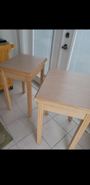 $45 each or together for $80 firm. Tall Quality Solid Wood Tables with Durable Matching Formica Tops. for Sale in Norfolk, VA