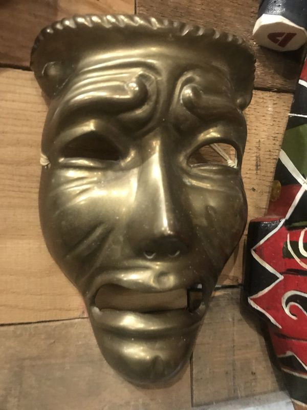 Brass mask wall art boho bohemian