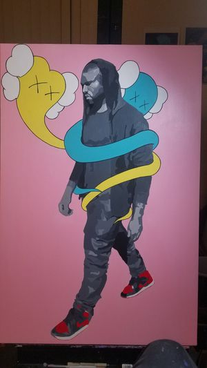 Kaws x Kanye west x Jordan 1 bred Custom Painting for Sale in Santa Monica, CA