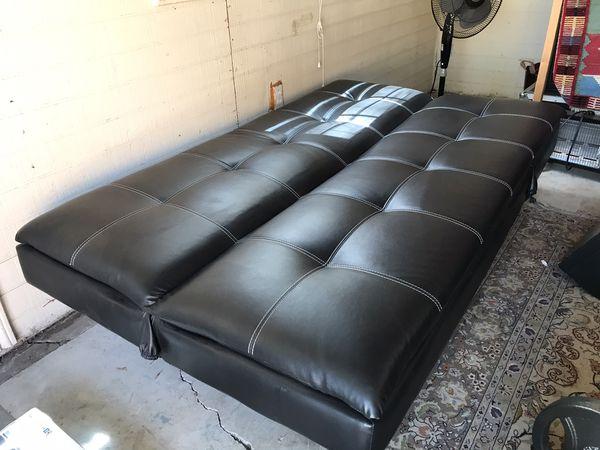 Leather Futon (Black w/white stitch)