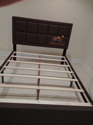 Brand New Queen Size Brown Linen Upholstered Platform Bed Frame for Sale in Silver Spring, MD