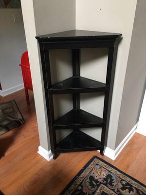 Three shelf black wooden corner cabinet for Sale in Tucker, GA