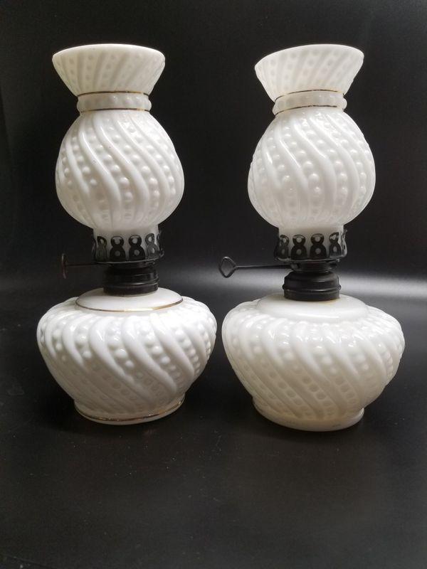 Antique/Vintage P & A Mfg Co & Dietz Convex White Milk Glass Optic Swirl& Button
