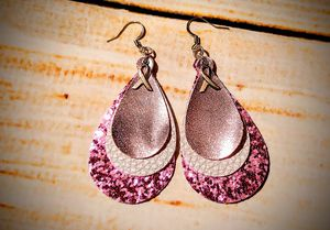 Faux Leather Earrings - Breast Cancer Awareness Ribbon - for Sale in Cleveland, TN