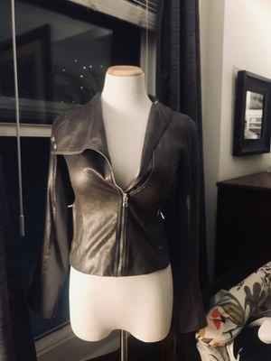Armani Exchange gun metal grey leather jacket for Sale in San Diego, CA